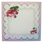 Elegant Fuchsias Square Scalloped Easel Card - envelope front