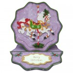 Christmas Carousel Wavy Edged Round Easel Duo Card - pyramage