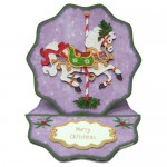 Christmas Carousel Wavy Edged Round Easel Duo Card - decoupage