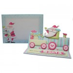 Santa's Train Over the Top Easel Card - finished set