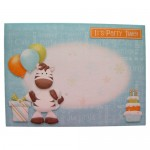 Party Zebra Shaped Fold Card - envelope front