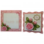 Pink Rose Wavy Edged Fold Card - finished set
