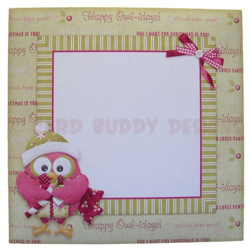 Happy Owl-idays Shaped Fold Card - envelope front
