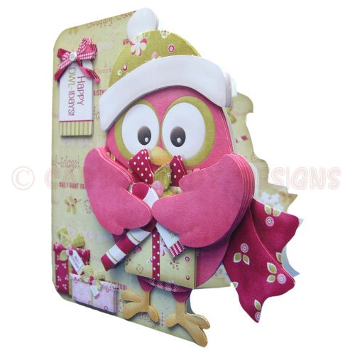 Happy Owl-idays Shaped Fold Card - view 2