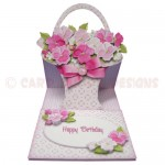 Pink Flower Basket Shaped Easel Card - view 1