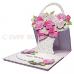 Pink Flower Basket Shaped Easel Card - view 2