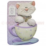 Teacup Kitty Shaped Fold Card - view 1