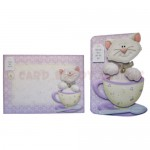 Teacup Kitty Shaped Fold Card - finished set