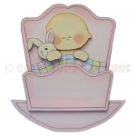 Rock-A-Bye Baby Girl Stand Up Rocker Card - font view