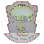 Rock-A-Bye Baby Girl Stand Up Rocker Card - back view