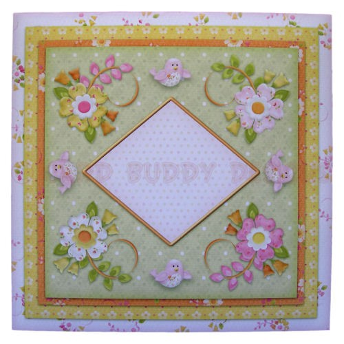 Birds & Blossoms Quad Petal Shaped Fold Card - envelope front