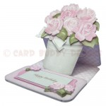 Pot of Pink Roses Shaped Easel Card - view 2