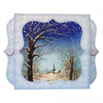 Snowy Church Bracket Edge Shadow Box Fold Card - view 1