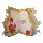 Bowl of Poinsettias Shaped Fold Card - inside view