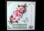 Pink Roses Over the Edge Concertina Card Kit + Bookmarks