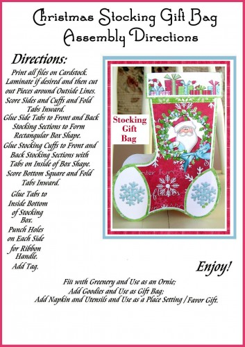 Gifts from Santa Stocking Shaped Christmas Gift Bag/ Party Favor