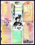 Shabby Chic Steampunk Journal Board Book Kit with Pockets & Tags