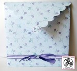Lavender and Lace Heart Shaped Easel Card Envelope Back