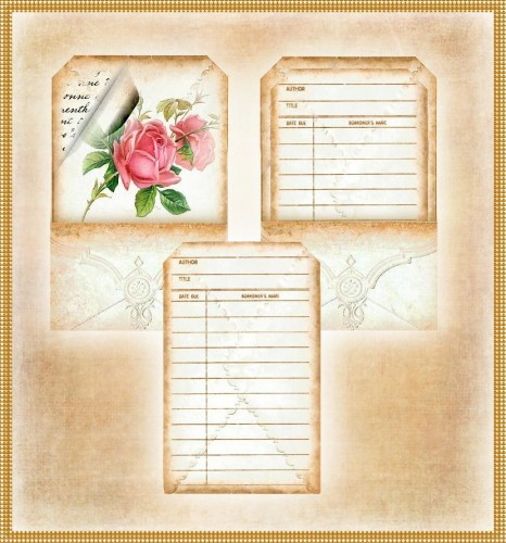 Teastained Library Pockets and Cards Set of 5