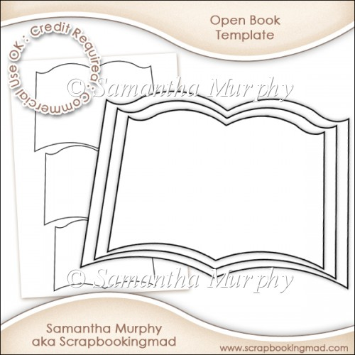 Open book template commercial use ok instant for Card making templates free download