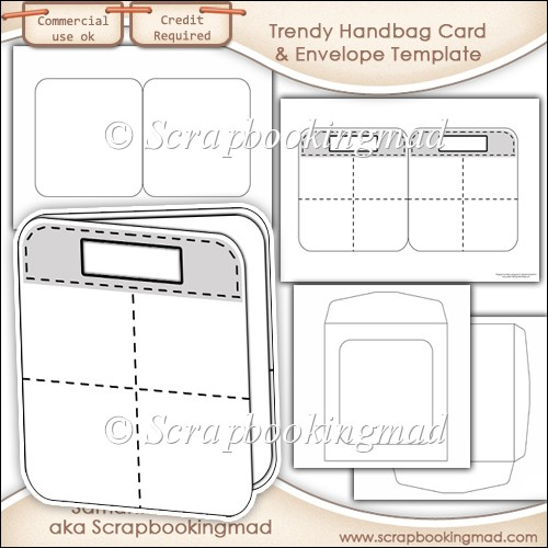 trendy handbag card insert envelope template commercial use instant card making. Black Bedroom Furniture Sets. Home Design Ideas