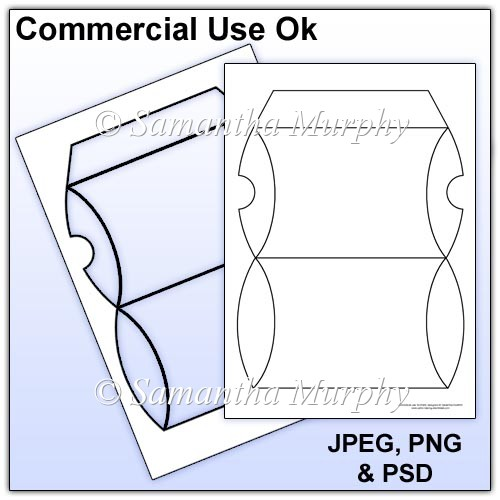 Pillow box template commercial use instant card for Card making templates free download