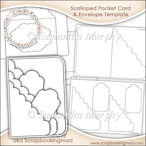 Scalloped pocket card envelope template commercial use for Card making templates free download