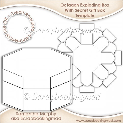 Exploding Box With Secret Gift Box Template CU OK - £3.50