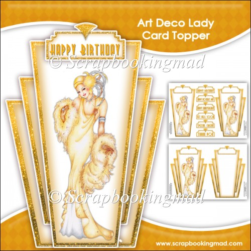 Elegant Art Deco Lady Topper & Insert Panel - Click Image to Close