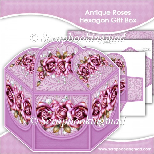 Antique Roses Hexagon Gift Box - Click Image to Close