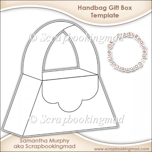 card making templates free download - handbag gift box template cu ok instant card