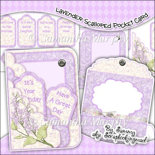 Lavender Scalloped Pocket Card - Click Image to Close