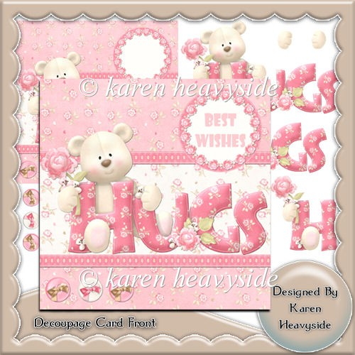 Grin N Bear It 4 Decoupage Card Front - Click Image to Close