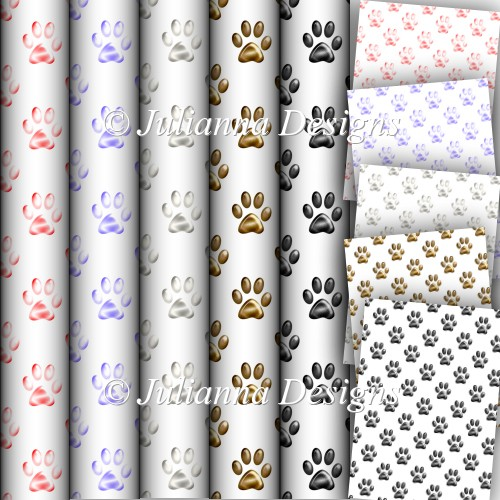 paw prints backing papers
