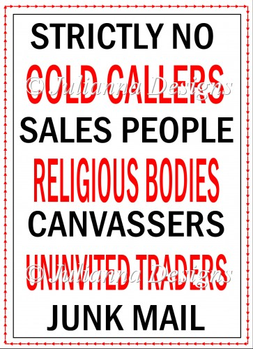 No Cold Callers Sign - Click Image to Close