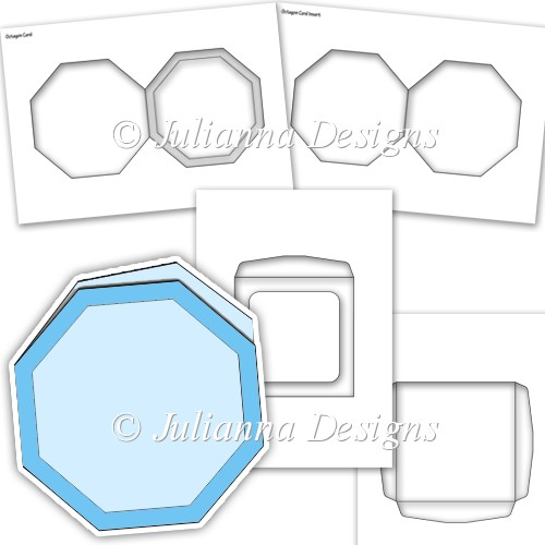 Cu octagon shaped card kit template instant card for Card making templates free download