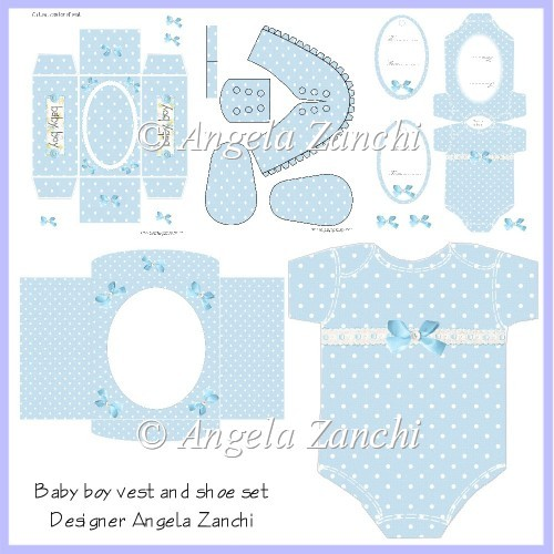 BABY BOY VEST CARD SET - u00a33.00 : Instant Card Making Downloads