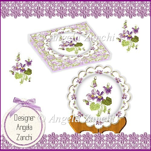 VIOLETS PLATE CARD STAND AND DISPLAY BOX MOTHERS DAY OR BIRTHDAY - Click Image to Close