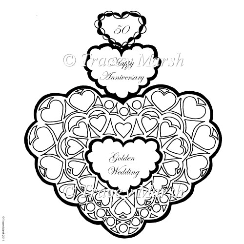 50th golden wedding anniversary triple heart digital stamp for Wedding anniversary coloring pages