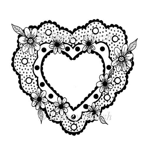 Floral Dotty Heart Digital Stamp - Commercial and Personal Use - Click Image to Close