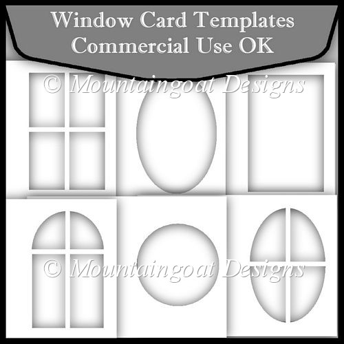 Window card template commerical use ok instant for Card making templates free download