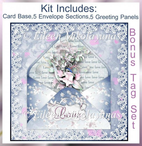 Valentine Decoupage Love Card Topper & BONUS Tag Set - Click Image to Close