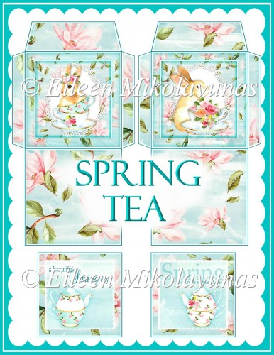 Spring Tea Teabag Envelopes and Insert Greetings - Click Image to Close