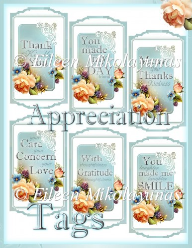 Words of Appreciation Cottage Chic English Garden Floral Tags - Click Image to Close