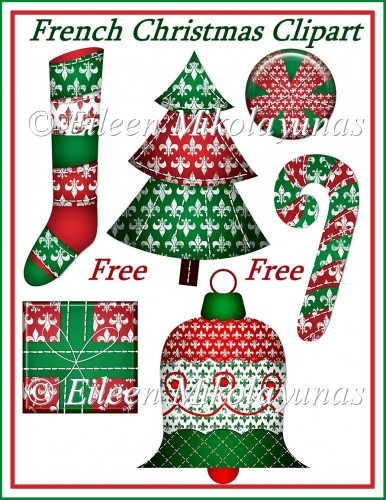 FREE French Christmas Fleur-de-Lis Clipart Embellishments - Click Image to Close
