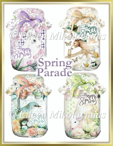Spring Parade Mason Jar Embellishments for Tags, Cards, Crafts - Click Image to Close