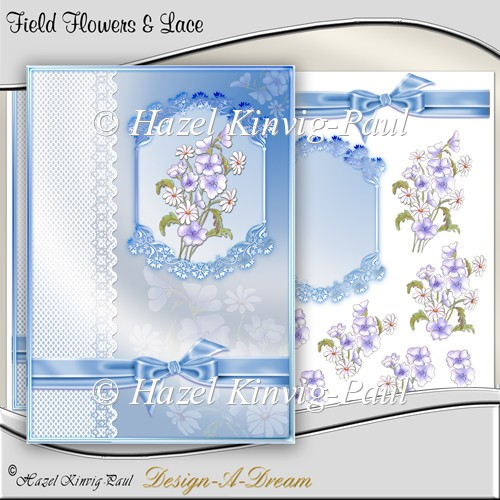 Field Flowers & Lace Decoupage Card Front/Topper - Click Image to Close
