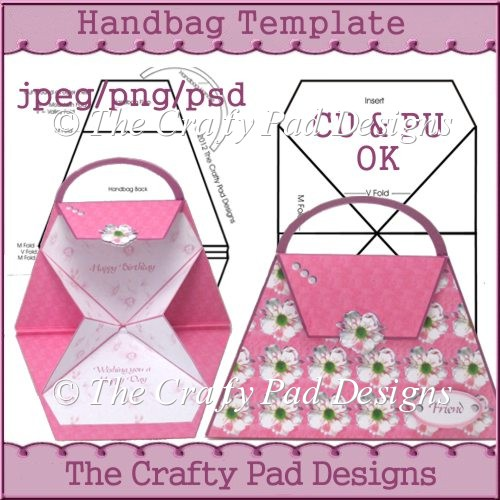 card making templates free download - handbag template instant card making downloads