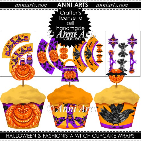 FASHIONISTA WITCH AND HALLOWEEN: CUPCAKE WRAPS - Click Image to Close