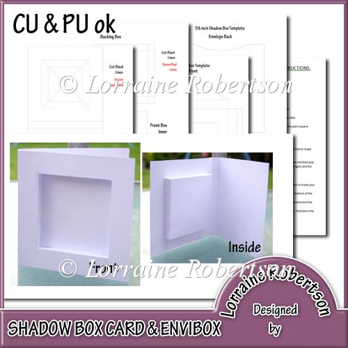 Shadow box envibox template instant card for Card making templates free download